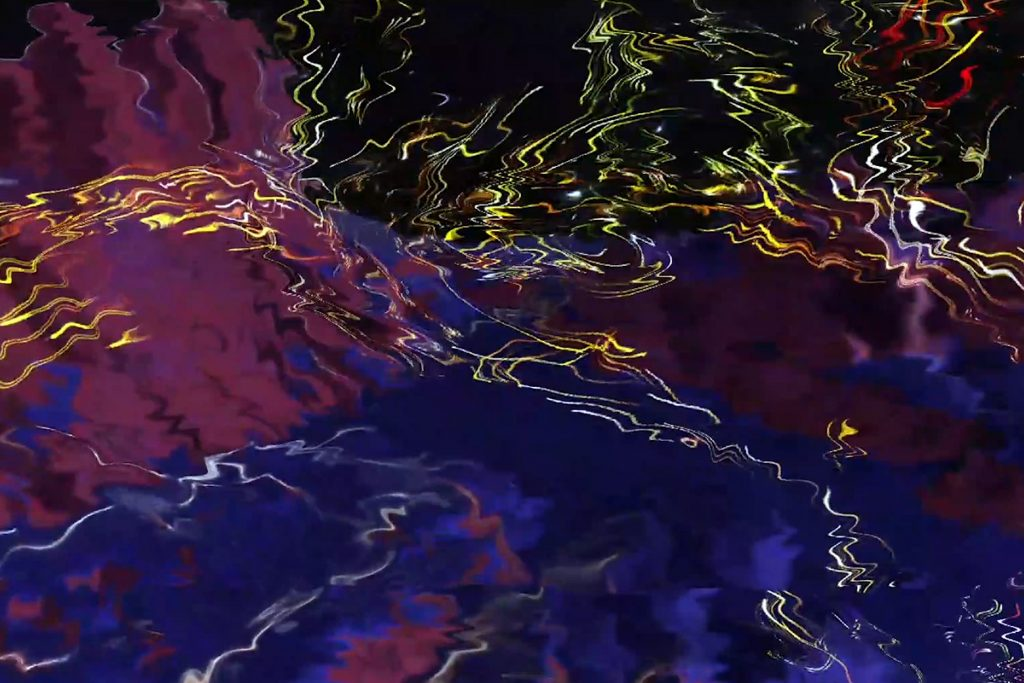 An abstract picture, with water-like swathes of dark blue, purple and black in the background, topped with highlights of yellow, white and red thin squiggles and zig-zags.