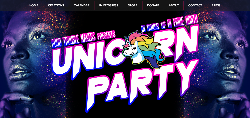 A screenshot of a poster that says 'Good Trouble Makers presents Unicorn Party in honor of Bi Pride Month', in white writing with an outline of the bi flag colours. The 'o' in Unicorn is replaced by a cartoon of a unicorn with rainbow mane. In the background, purple atmospheric sparkly pictures of a lady staring into the distance off the page