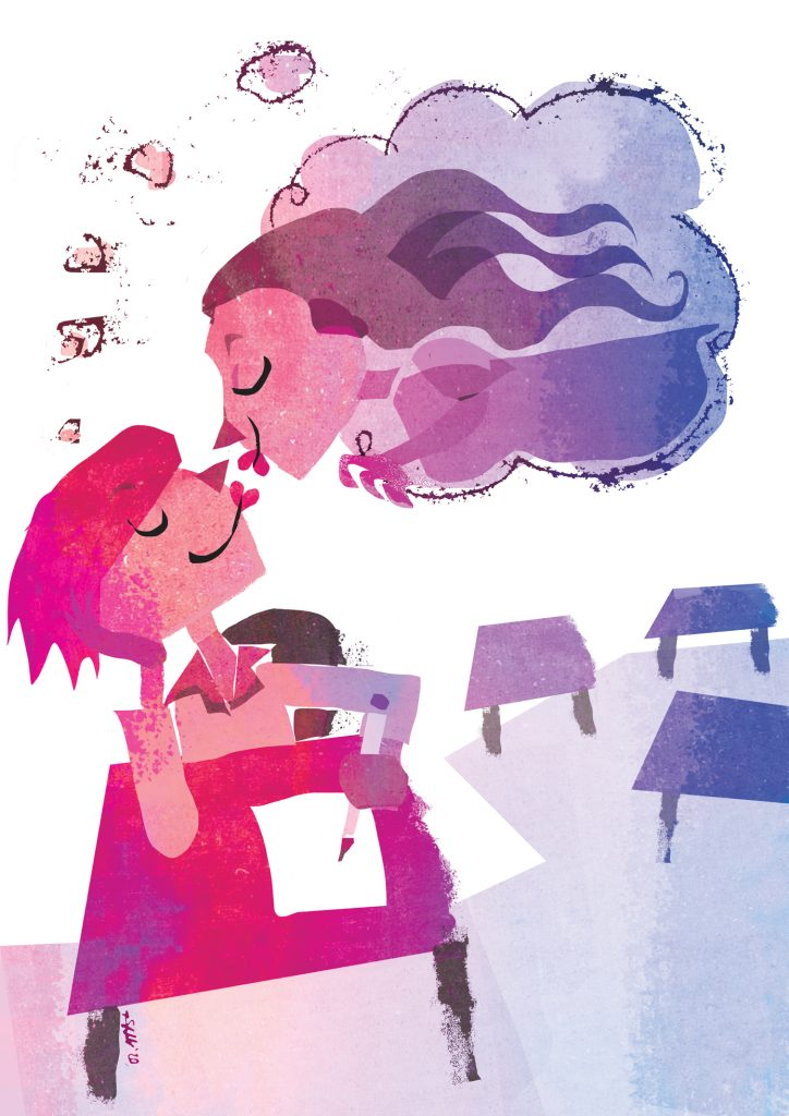 A stylised cartoon in the colours of the bi pride flag (pink, purple and blue). A floating face morphed into a cloud is reaching down to kiss a person writing at a desk in a an empty classroom.