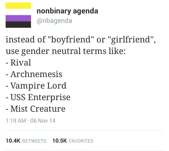 """A tweet from nonbinary agenda (@nbagenda) that says: 'instead of """"boyfriend"""" or """"girlfriend"""", use gender neutral terms like: Rival, Archnemesis, Vampire Lord, USS Enterprise, Mist Creature'."""