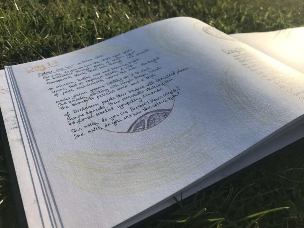 Photograph of Sophia's sketchbook with text reading Day 13 - colour me in. The page has yellow line drawings and a poem written out by hand. The book is set upon green grass and is open at the mid point.
