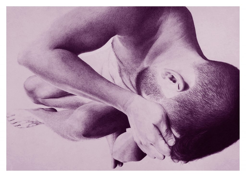 Purple sepia style photograph of a naked male. They are at an angle with their hands over their face. They have dark, short hair and a beard.