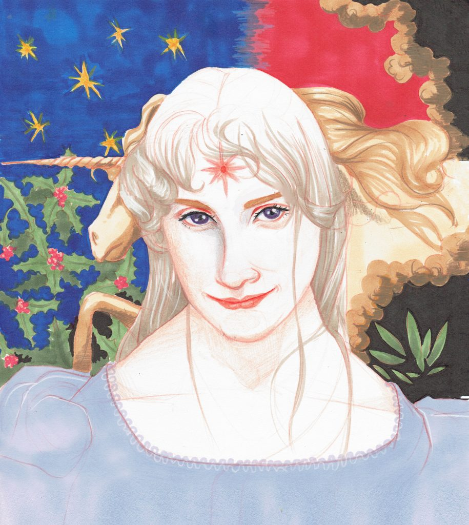 Illustration of a person with light, wispy long hair which is behind their back and a little on their face. In the middle of their forehead is a red 8 point star. They have pale skin, blue eyes, light brown eyebrows and pale red lips which are partially smiling. The person is wearing a light blue top with poofy shoulders. Behind them is a unicorn which is obscured by the person's head. We only see part of the mouth and horn, then part of the mane and body. In the background on the left hand side is blue with yellow stars and holly leaves with berries then on the right handside is a mixture of red and black with gold and some green leaves dotted about.