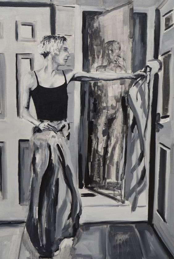 Black, white and grey painted portrait image. A slim, female figure is to the left hand side with their left arm outstretched to a mirror. In the reflection of the mirror is a different, more obscured figure. The image uses a range of brush strokes and tones of black and grey to create texture and depth.