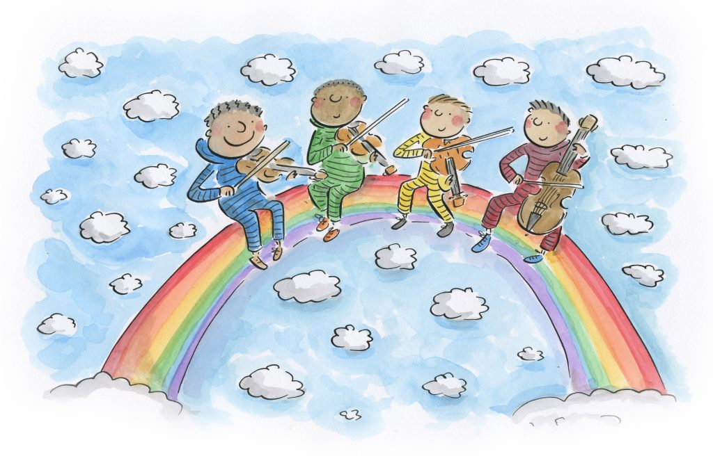 We see a rainbow in a cloudy pastel blue sky. On the rainbow are 4 illustrated characters of different skin tones. They're sitting in the middle of the rainbow. From left to right they are a violin player in a blue striped onesie, a violin player in a green striped onesie, a violin player in a yellow striped onesie and a cello player in a red striped onesie.