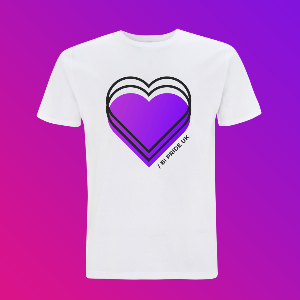 On a purple-pink ombre background, a white T-shirt, with a large purple heart logo, a displaced black outline to give a 3D effects, and the words Bi Pride UK written up the side of the heart.