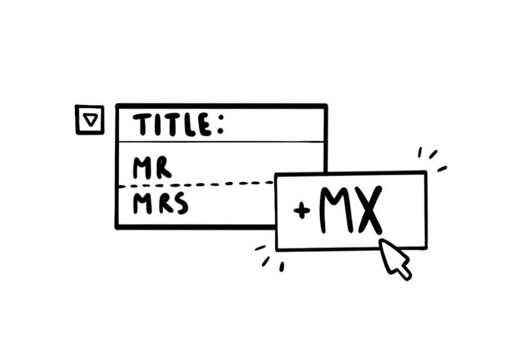 Black and white line illustration graphic. It includes an upside down triangle in a square. Also a box with the words Title, Mr and Mrs. In a second box to the right read +MX with a mouse cursor symbol and two groups of 3 small lines coming out of 2 corners.