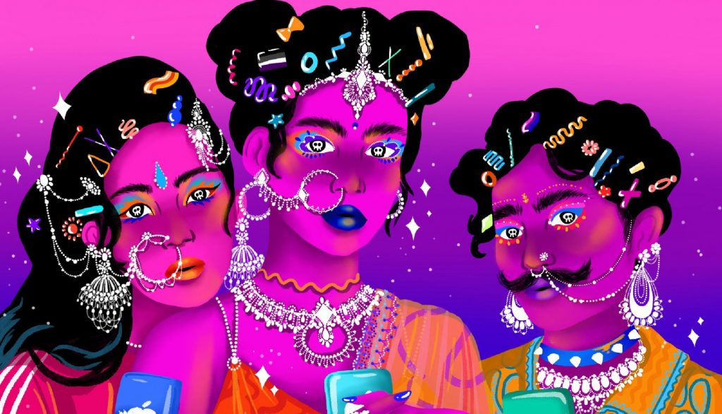 Feature image is an illustration of three South Asian individuals, all dressed in brightly coloured clothing and shining jewellery. They're all holding their phones and around the outside is an Instagram frame