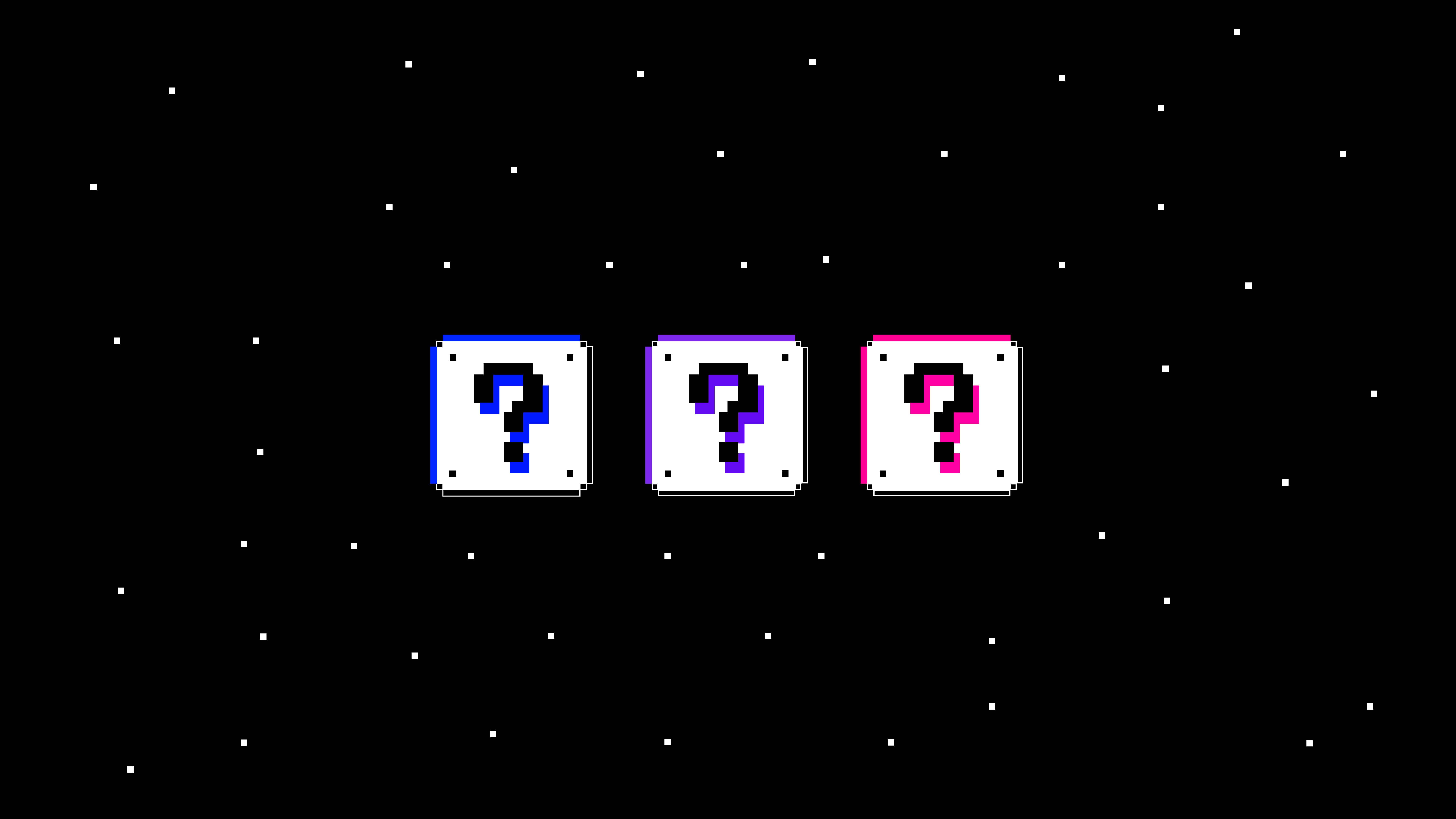 On a black background with small white pixel dots sit three pixelated box illustrations, each box has a question mark inside with a neon colour offset of blue, purple and pink