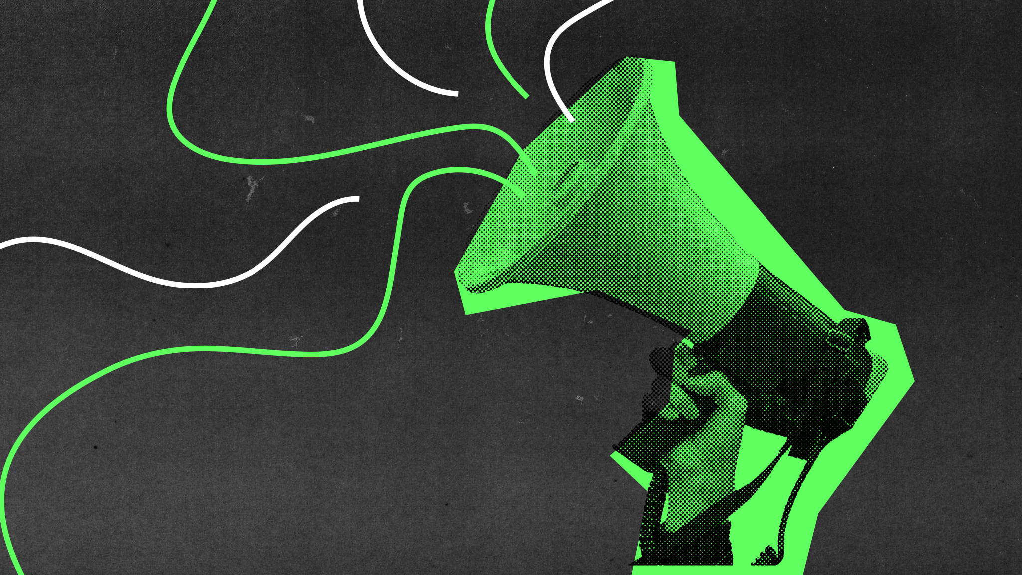 A composite image of a black bitmapped megaphone held defiantly in the air by a hand with neon green offset colour behind. Duotone green and white lines swirl from the speaker on a background of gritty dark photocopier texture