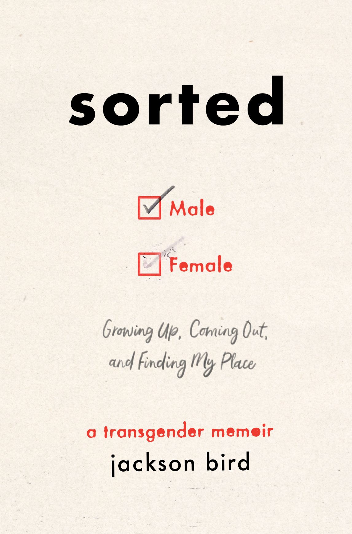 """The front cover of Jackson Bird's book Sorted. The cover is a pale gray with the title Sorted in bold letters above. Below it is a check box for Male and Female. The Male is ticked, with Female also ticked but the tick has been rubbed out. Below is the line """"Growing up, Coming out and Finding my Place"""" below that is the line """"A transgender memoir - Jackson Bird"""""""