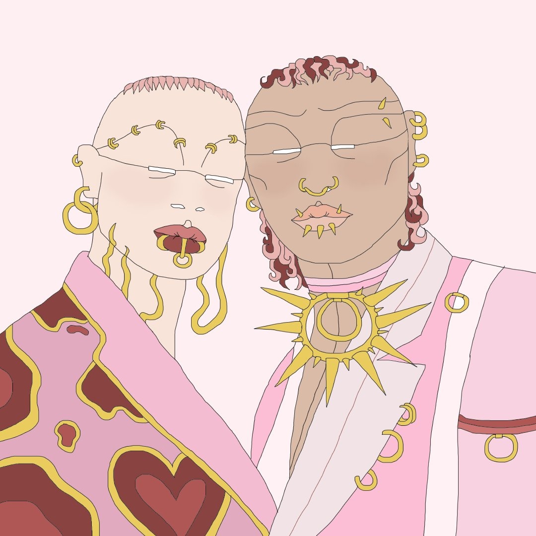 Square digital illustration featuring two human figures from the chest upwards. The human character on the left has white skin, slight pastel pink hair on the top of their head. They wear lots of gold jewellery, including big gold hoops from their ears and small hoops across their eyebrows. They are wearing a pink jacket with an abstract red and gold heart pattern on. The second human character on the right, has pastel pink and burgundy circle hair on the top and down the neck. They also have gold jewellery and hoops in their ears and on their face. They have gold spikes coming out of their lips and on their choker style necklace. They wear a multi shade of pink jacket with gold hoop detail. Their heads are slightly leaning in to touch together.