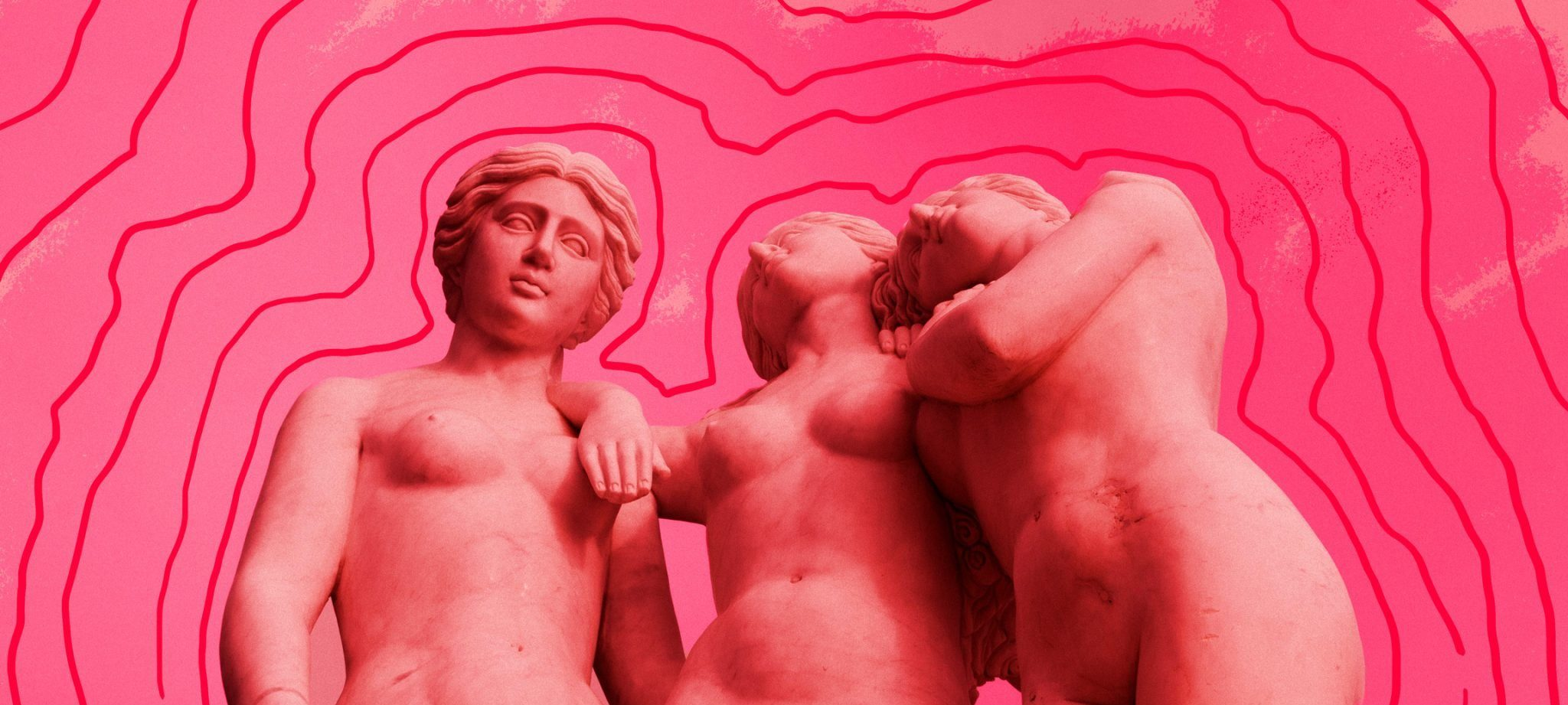 Three stone female naked sculptures stand in a row with their arms over each other, their skin and the background is a bright shade of pink.