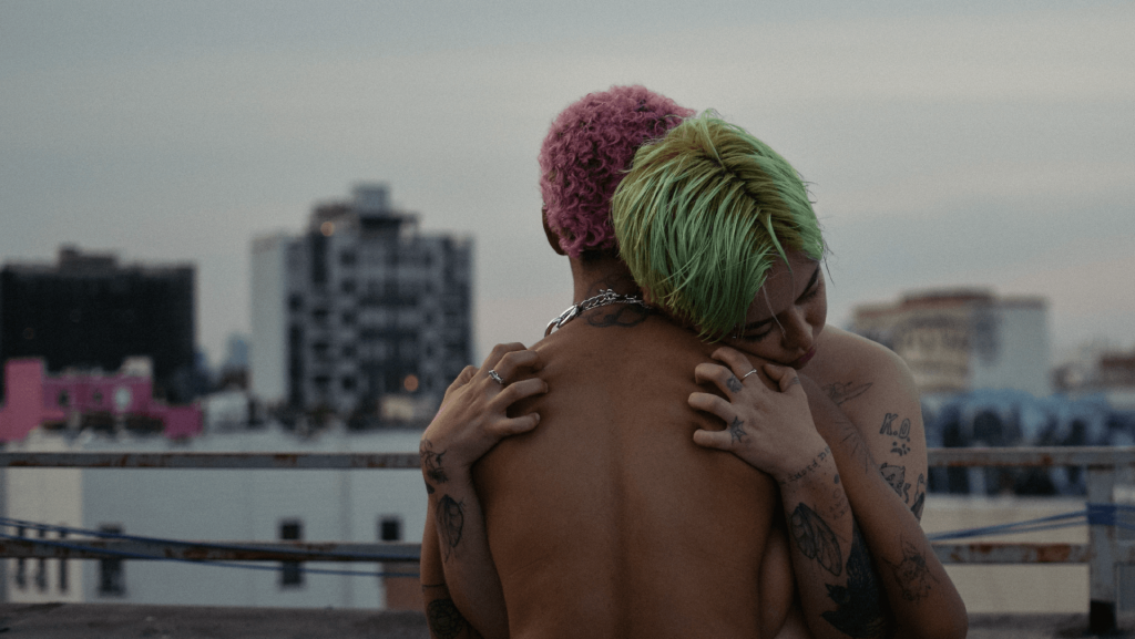 two shirtless people holding each other on a roof, the city blurred in the background. One of the people has short, tightly curled pink dyed hair, the other has green dyed mid length hair, and tattoos