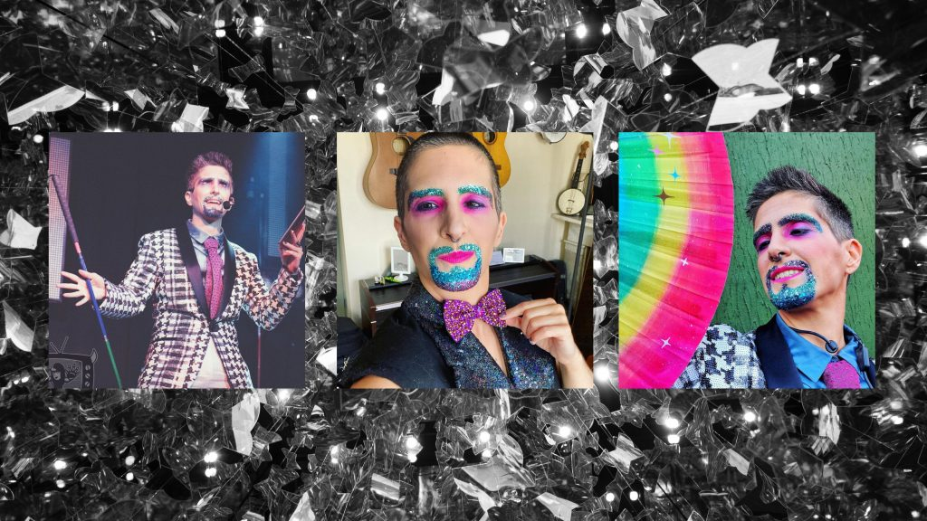 """Three images of Tito Bone, on top of a glittery background Tito, a slim white drag king with freshly done buzz cut, pouts at the camera, one hand straightening their dazzling bowtie. They have a fantastic glitter beard and matching eyebrows that graduate from dark purple to blue to teal. They also have pink and purple shimmery eyeshadow, bright pink lips and a blue ring in the septum of their rather prominent nose. They are wearing a a black sleeveless tailcoat and a bowtie rhinestoned with purple pink and gold stones. You can't see it here, but should know it matches Tito' trousers beautifully, which is probs why they look so smug. Tito, a slim white drag king with spikey brown hair and a big nose. In their usual glitter beard and eyebrows in blue, purple and teal, they are wearing a sequinned black and white houndstooth coat, white trousers, blue shirt and pink tie. They have a big Britney-style mic on (#FreeBritney) they are holding their rainbow """"white"""" cane in one hand and iPad in another. They are mid speech with a facial expression that says """"do you even know what the social model of disability is???"""" (If you don't, google it - or pay them and they will tell you about it) Tito, a slim white drag king with spiky brown hair shaved at the sides. They have a glitter beard and matching eyebrows that graduate from blue to teal to purple. They also have pink eyeshadow on and matching pink lips. They are wearing a sequins houndstooth coat, teal shirt and pink tie. They are standing in front of a textured green background and fanning themself with a rainbow fan. They are smiling slightly as if to say """"oooh damn I'm sexy."""""""