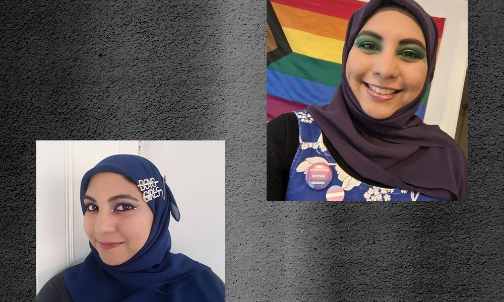 Two square selfies of Hafsa on a textured grey background. Image on the right: In front of a progress Pride flag, Hafsa smiles at the camera. Her eyeshadow is the same colour as the green on the flag. She is wearing two pin badges: one is the trans flag, and the second is a Bi Pride UK badge which says 'Attraction Beyond Gender' Image on the left: Hafsa has her head turned slightly to one side. Shining against her rich blue hijab is two diamante pins, one of which says 'boys' and the other says 'girls'. Her eye makeup is in the colours of the bi pride flag.