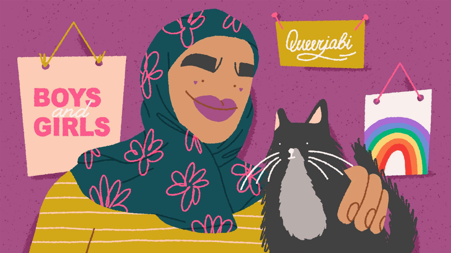 A cartoon of Hafsa on bright fuchsia, wearing a gorgeous blue hijab with flowers that pop against the background colour. She is stroking a black and grey cat who looks adorable, and the art on her walls includes posters of a rainbow, of the word 'queerjabi', and of the words 'boys and girls'