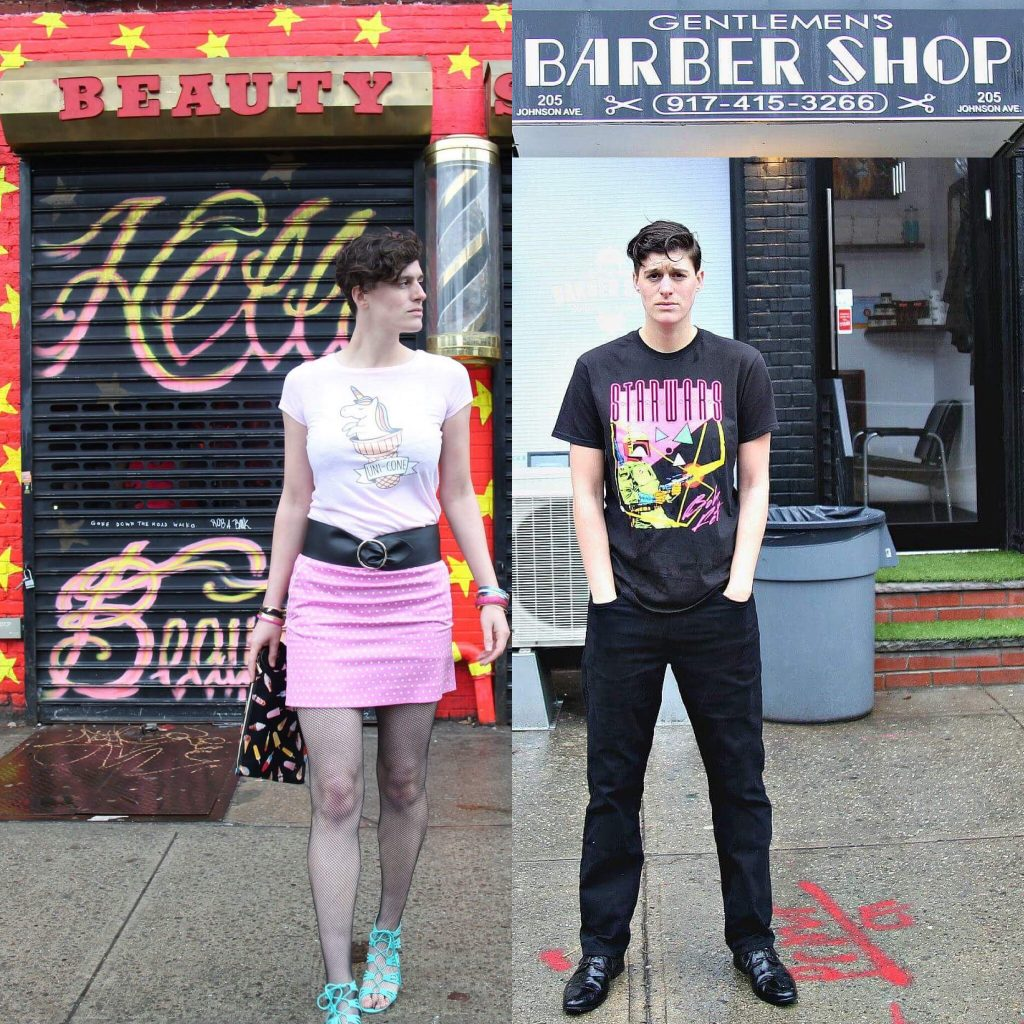 The image is split in half, Rain Dove is in both halves presenting as different gender identities. On the Left, Rain is standing in front of a beauty salon in a pink mini-skirt, black belt, and unicorn t-shirt. On the right Rain is standing in front of a barber shop in black loose trousers, a black graphic t-shirt and slicked back black hair.